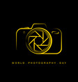 line art camera for world photography day vector image vector image