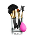 makeup brush holder glass cup female vector image