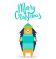 merry christmas greeting card cute hedgehog in hat vector image