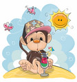 monkey on the beach vector image vector image