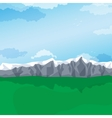 Mountain valley green pastures landscape vector image