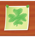 note with fourleaf shamrock vector image