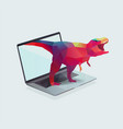 notebook with polygon dinosaur vector image vector image