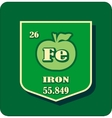 Nutrition facts apple iron vector image