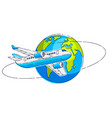 plane airliner with earth planet airlines air vector image vector image