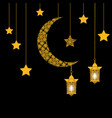 ramadan card crescent with stars and lanterns vector image