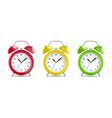 realistic detailed 3d vintage color alarm clocks vector image