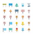 road signs and junctions flat icons collec vector image vector image