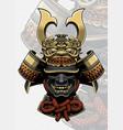 samurai helmet with dragon face accessories vector image vector image