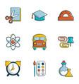 school equipment icons set flat style vector image vector image