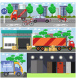 set of courier service posters banners in vector image vector image