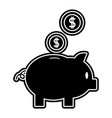 silhouette piggy to save money and coins with peso vector image