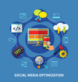 social media round composition vector image vector image