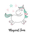unicorn magical time unicorn quote vector image vector image