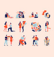 valentine love icons collection vector image