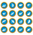 wing icons blue circle set vector image vector image