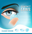 woman detailed eye and contact lens on her finger vector image