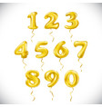 yellow number 1 2 3 4 5 6 7 8 9 0 metallic vector image
