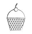 sketch draw cupcake cartoon vector image