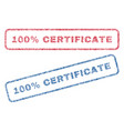 100 percent certificate textile stamps vector image vector image