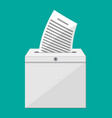 ballot box container with lock full documents vector image vector image