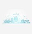 barcelona skyline spain vector image vector image