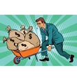 Businessman wheel heavy garden cart with money vector image