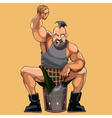 cartoon muscular man happily cheers vector image vector image