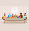 cheerful cartoon family having dinner vector image vector image
