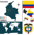 Colombia map world vector image vector image