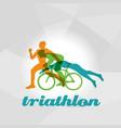 color flat logo triathlon figures vector image vector image