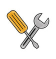 construction screwdriver and spanner tool vector image vector image
