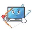 cupid lcd tv cartoon in living room vector image vector image