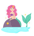 cute cartoon mermaid with yellowhair vector image vector image