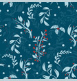 decorative pattern with holiday leafs winter or vector image vector image