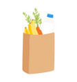 eco shopping bags paper bags with fruits and vector image vector image