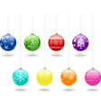 eight christmas shiny baubles set vector image