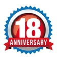 Eighteen years anniversary badge with red ribbon vector image vector image