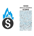 Fire Damage Icon with 1000 Medical Business Icons vector image