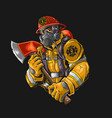 fire fighter with axe illustration graphic vector image
