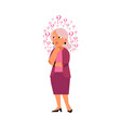 flat old elderly woman thinking portrait vector image vector image