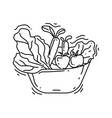 gardening food icon hand drawn icon set outline vector image