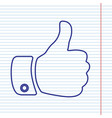 hand sign navy line icon on vector image vector image