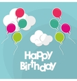 happy birthday flying balloons clouds vector image vector image