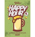 Happy Hour Poster For Advertising Beer Mug vector image vector image