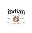 head of indian chief vintage logo design vector image vector image
