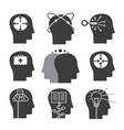 human thinking icons set mental abilities vector image