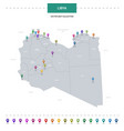 libya map with location pointer marks infographic vector image vector image