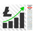 litecoin growth graph flat icon with bonus vector image vector image