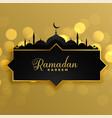 lovely golden ramadan kareem greeting background vector image vector image